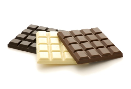Three different colored chocolate bars